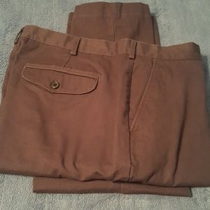 Brown khakis. Flat front